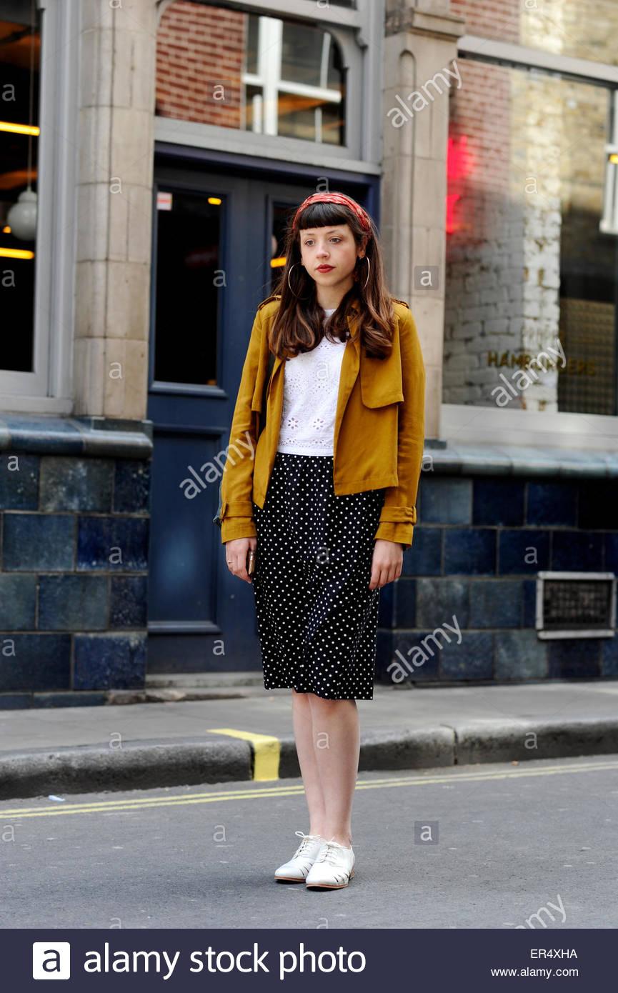 Felicity, Soho London Street Style Fashion, England UK. - Stock Image