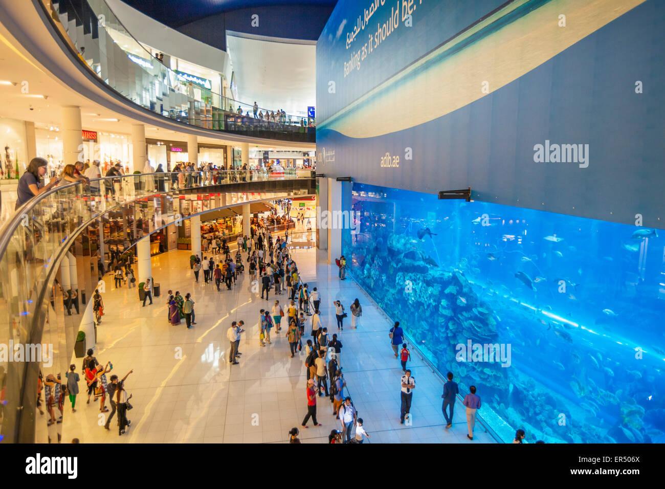 Dubai Aquarium, Dubai Mall, Dubai City, United Arab Emirates, UAE, Middle East - Stock Image