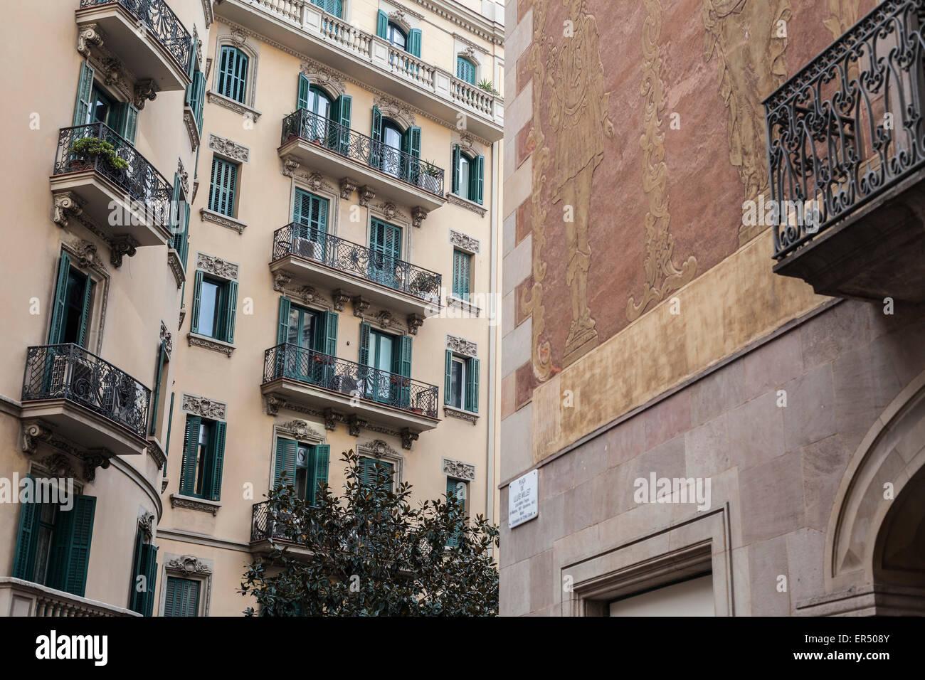 Barcelona. Facade building in Ciutat Vella - Stock Image
