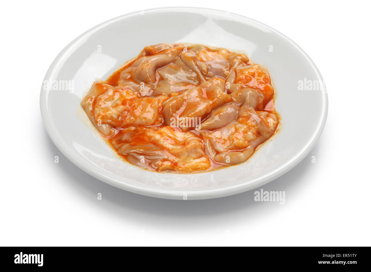 abomasum, rennet bag, reed tripe, korean barbecue ingredient - Stock Image