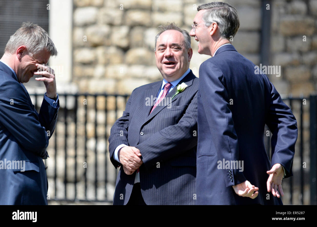 London, UK. 27th May, 2015. State Opening of Parliament. Alex Salmond talking to Jacob Rees-Mogg  on College Green, - Stock Image