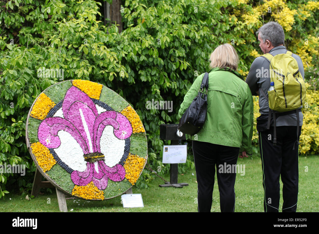 Scout Association Logo as a Well Dressing in Derbyshire - Stock Image
