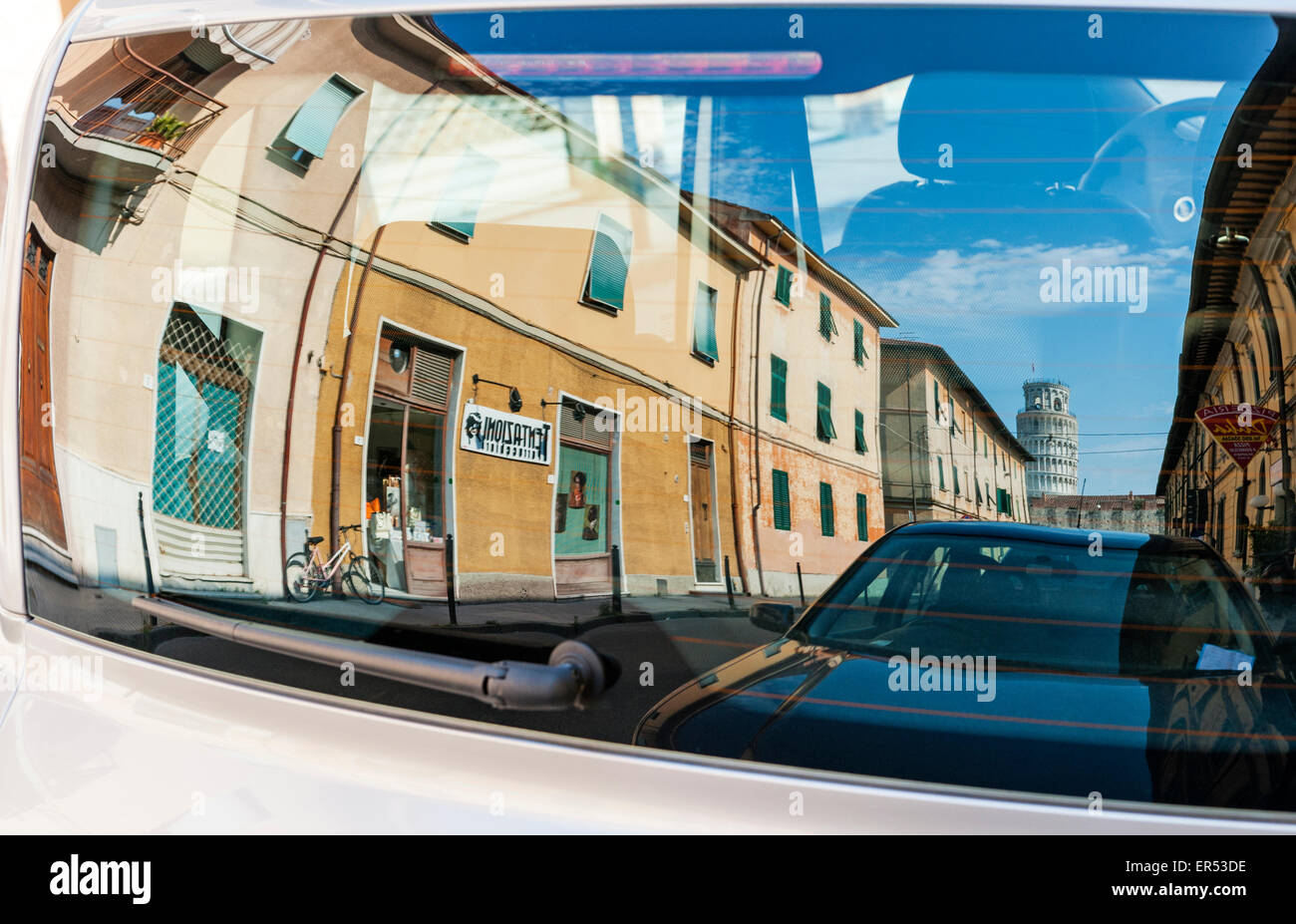 Pisa, Italy. The Leaning Tower reflected in a car windscreen Stock Photo