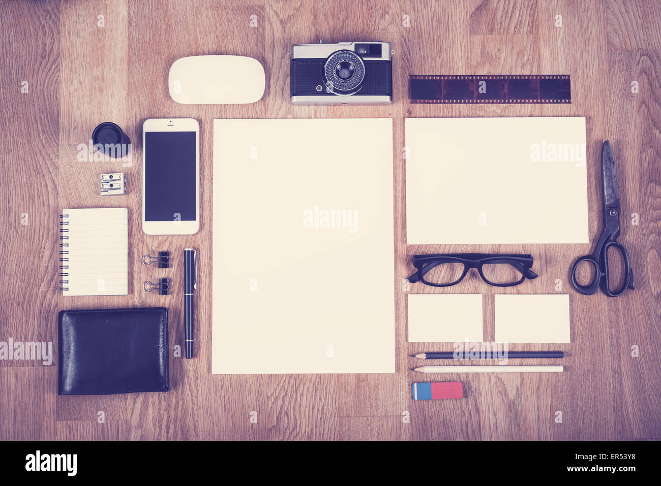 Corporate identity design template in vintage color style showing different old and new items Stock Photo
