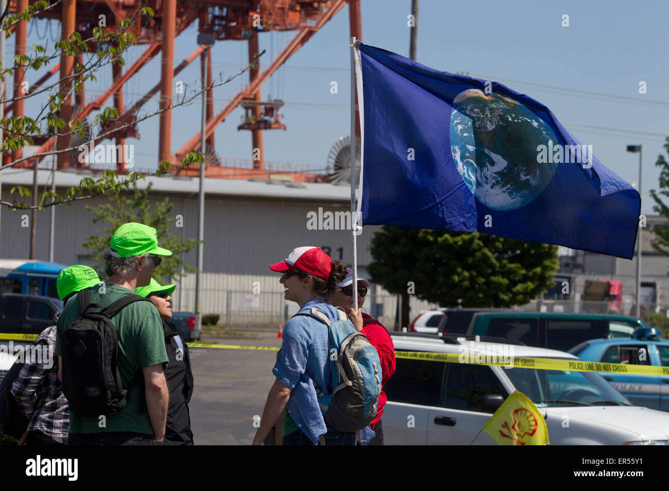 Protest Against Royal Dutch Shell's Floating Oil Drill Rig, Polar Pioneer, Seattle, Washington, USA, May 18, 2015 Stock Photo