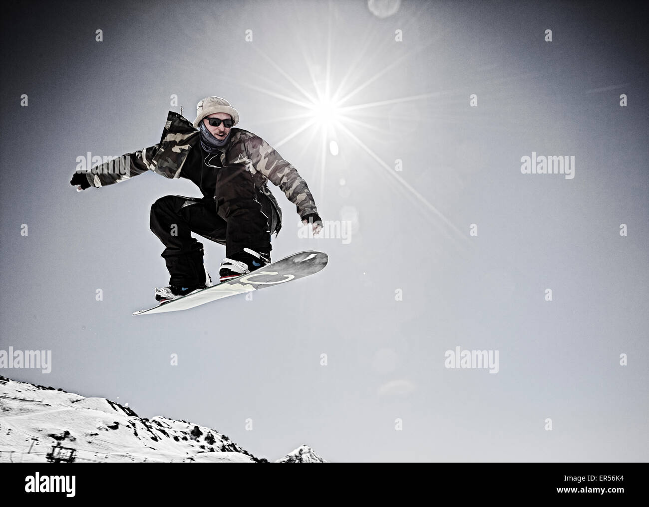 Snowboarder Les Arcs, The John Doe Event - Stock Image