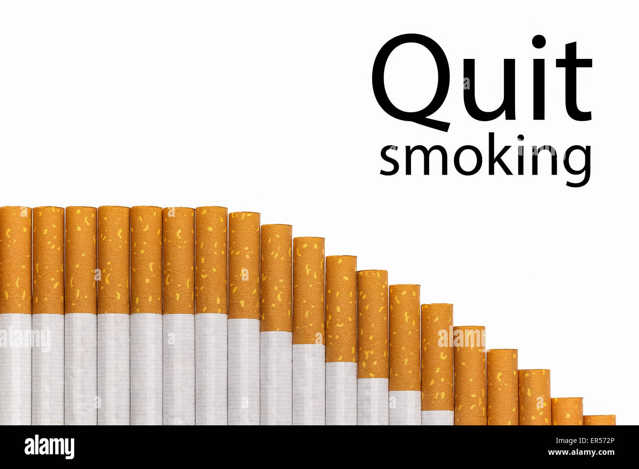 Quit smoking text with a graph of cigarettes, black text. - Stock Image