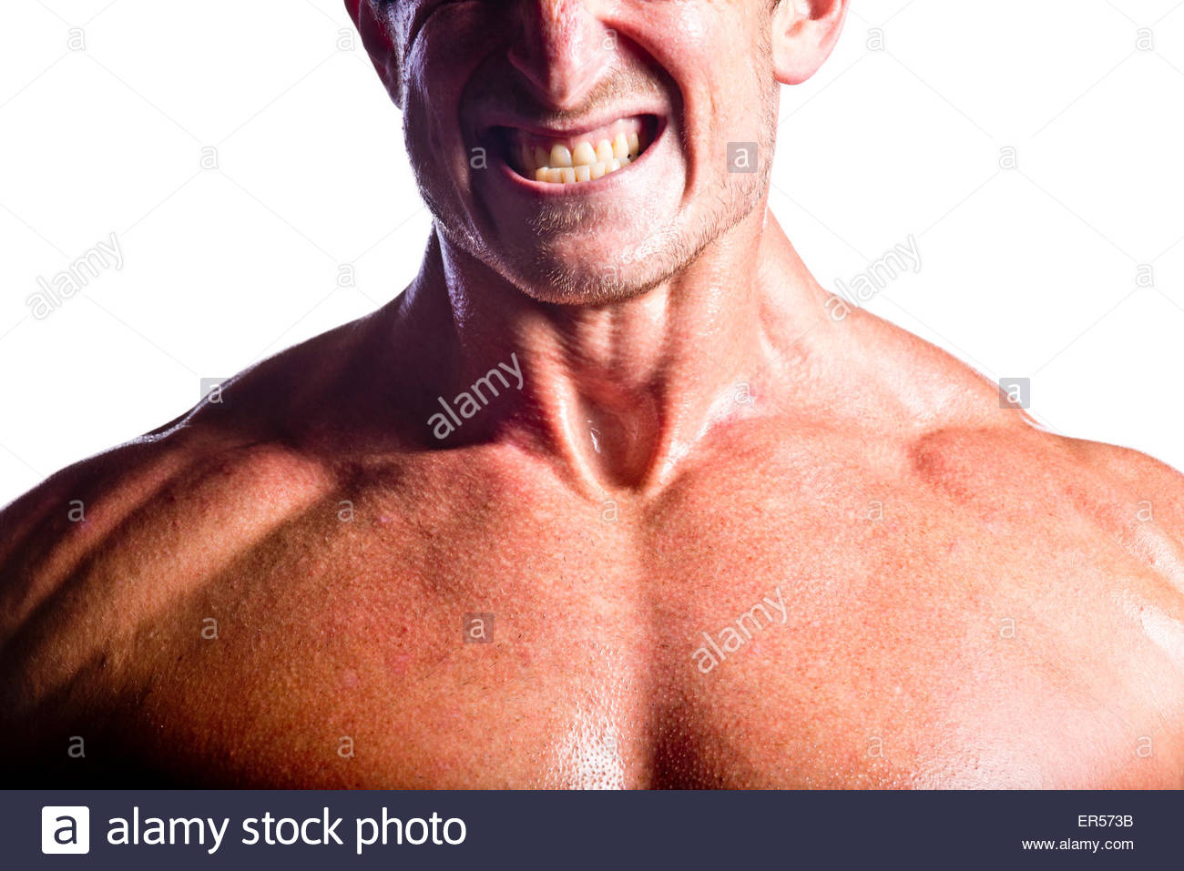 Close-up of a athletes face while he works out. - Stock Image