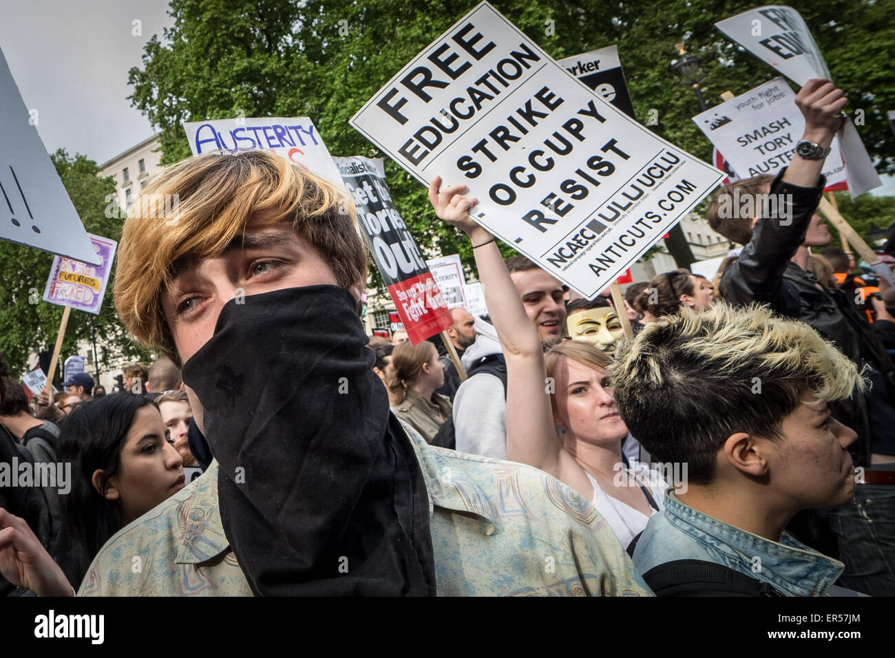 London, UK. 27th May, 2015. Anti-Tory Protests Following the State Opening of Parliament Credit:  Guy Corbishley/Alamy - Stock Image