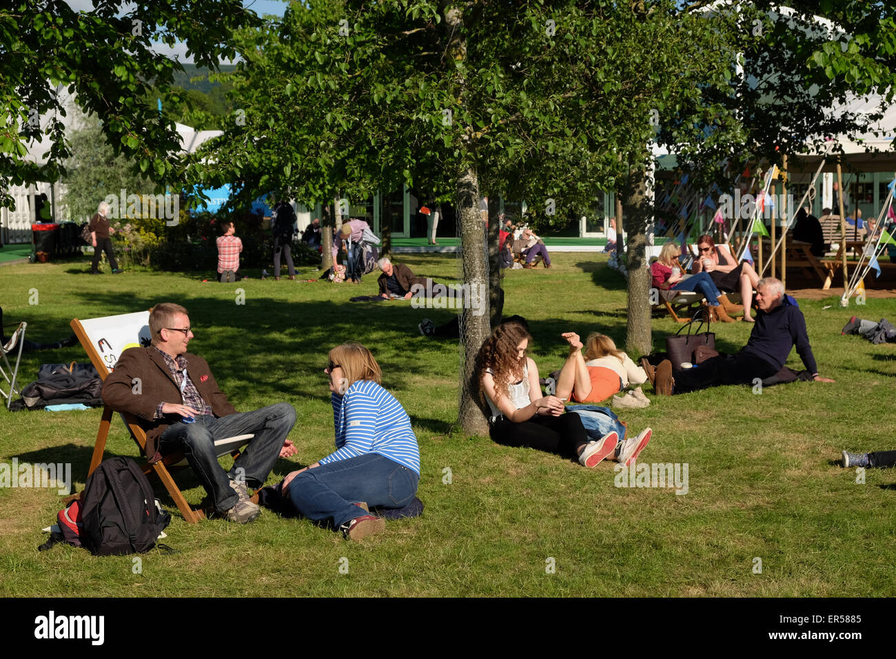 Hay Festival evening on the Festival lawns May 2015 - Stock Image