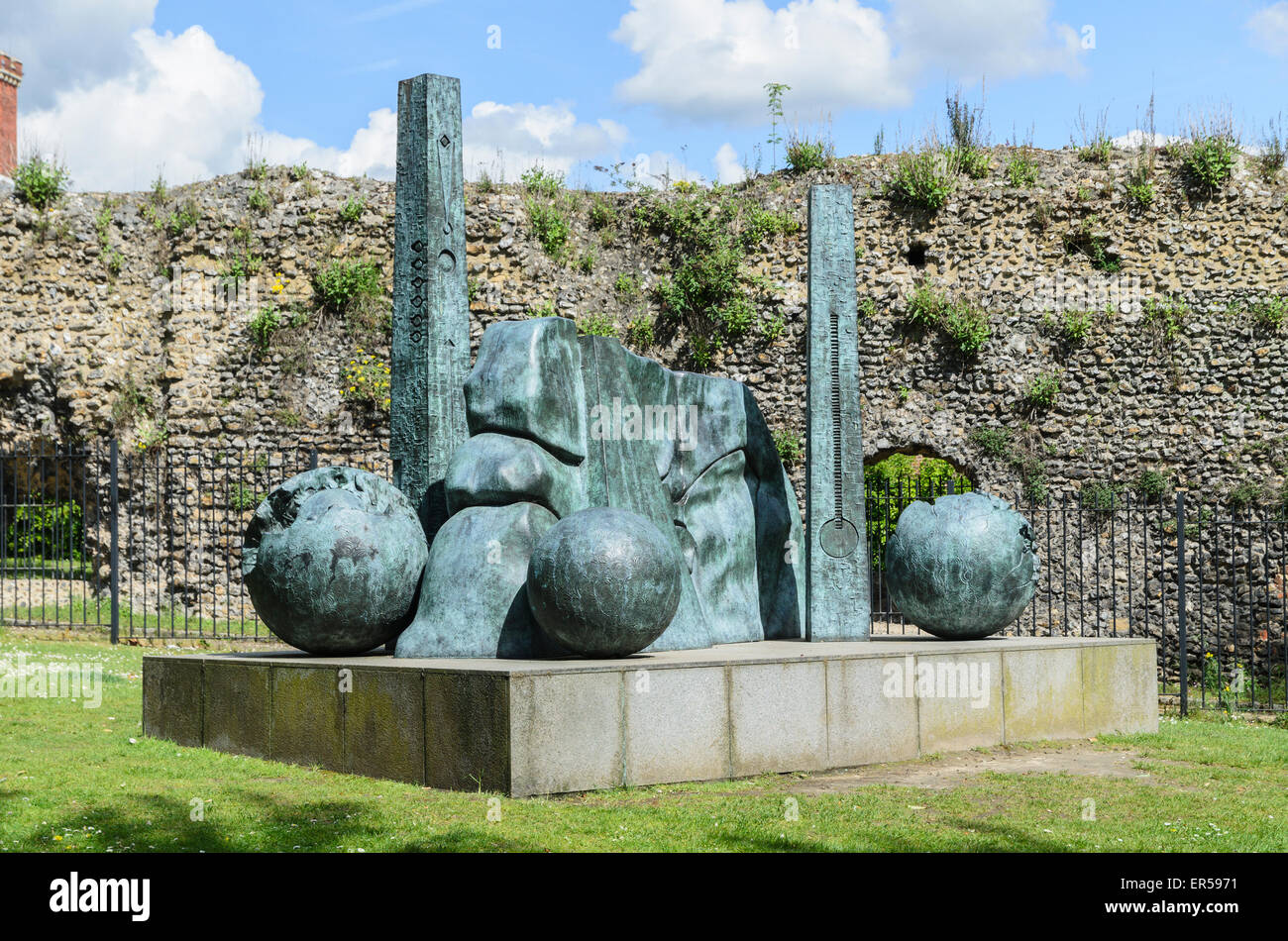 A sculpture by Jens Flemming Sørensen in the Abbey Gardens, Reading, Berkshire, U.K the site of the ruins of - Stock Image