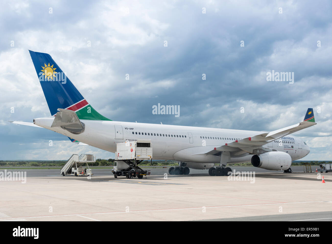 Air Namibia Airbus A330 on tarmac at Hosea Kutako International Airport, Windhoek (Windhuk), Khomas Region, Republic - Stock Image