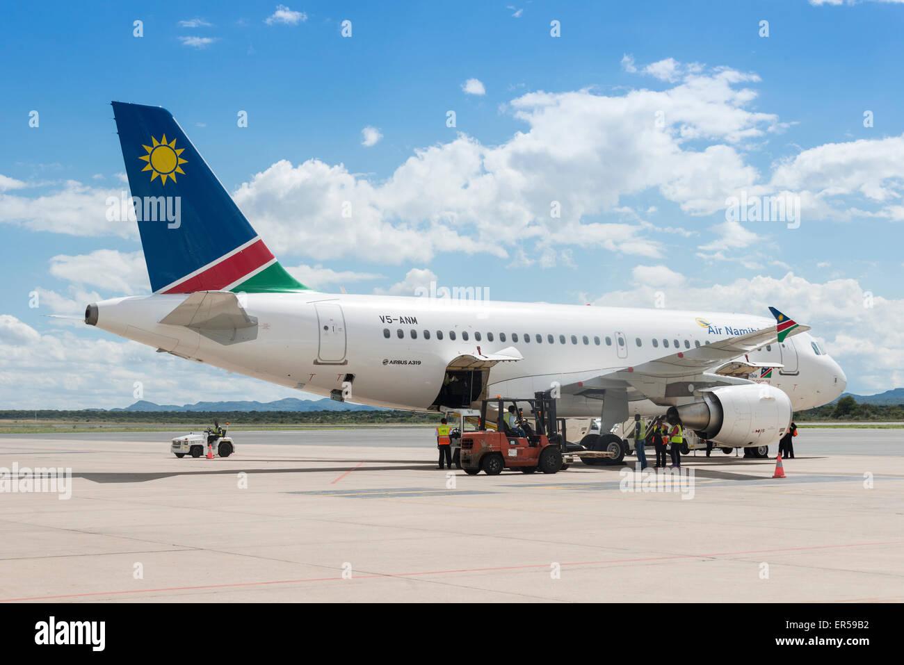 Air Namibia Airbus A319 on tarmac at Hosea Kutako International Airport, Windhoek (Windhuk), Khomas Region, Republic - Stock Image