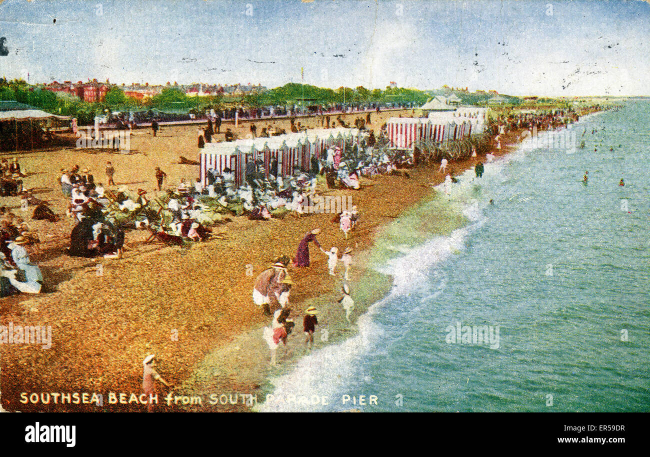 The Beach, Southsea, Portsmouth, Hampshire, England.  1921 Stock Photo