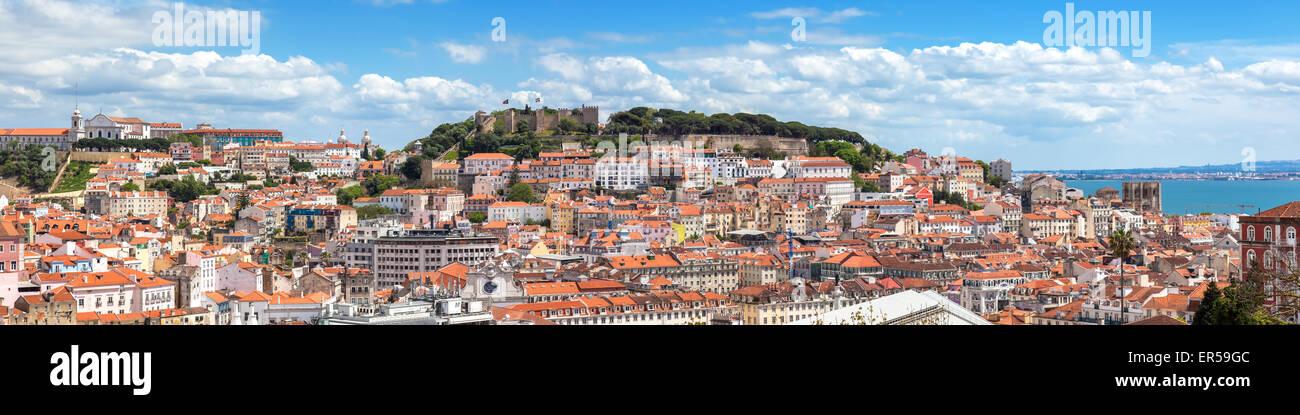 Panoramic view of Lisbon from Sao Pedro de Alcantara viewpoint - Miradouro in Portugal - Stock Image