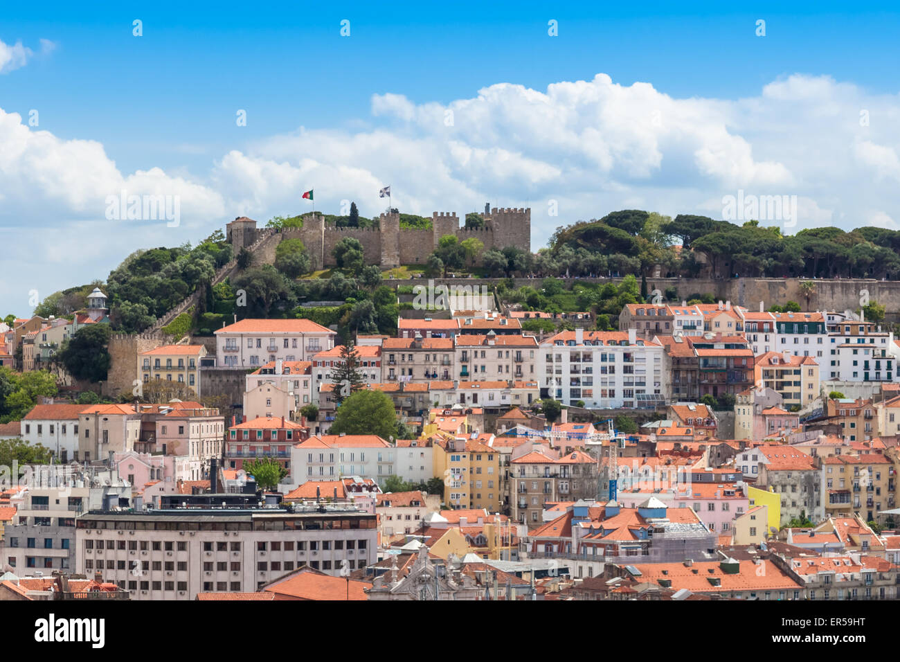 Lisbon St Jorge Castle from Sao Pedro de Alcantara viewpoint - Miradouro in Portugal - Stock Image