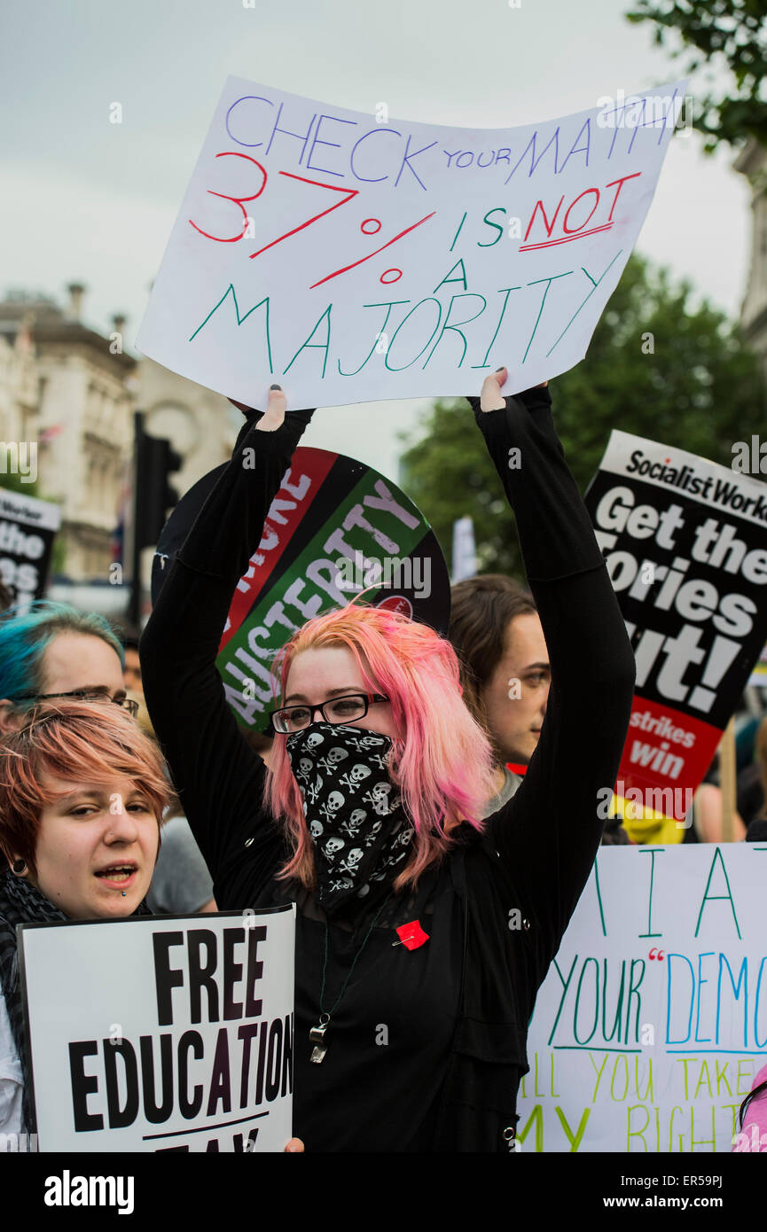 London, UK. 27th May, 2015. Protestors led by the peoples assembly march from Trafalgar Square, down Whitehall, - Stock Image