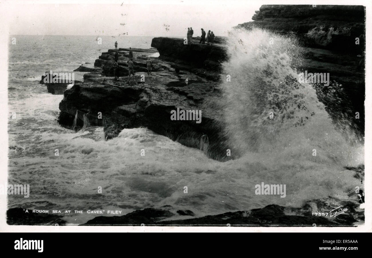 Rough Sea at the Caves, Filey, Yorkshire , England.  1958 - Stock Image