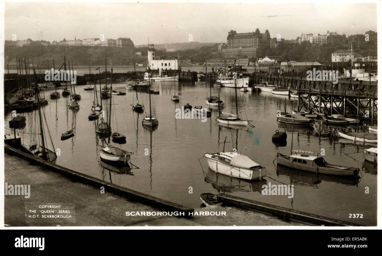 Harbour, Scarborough, Yorkshire , England.  1954 - Stock Image