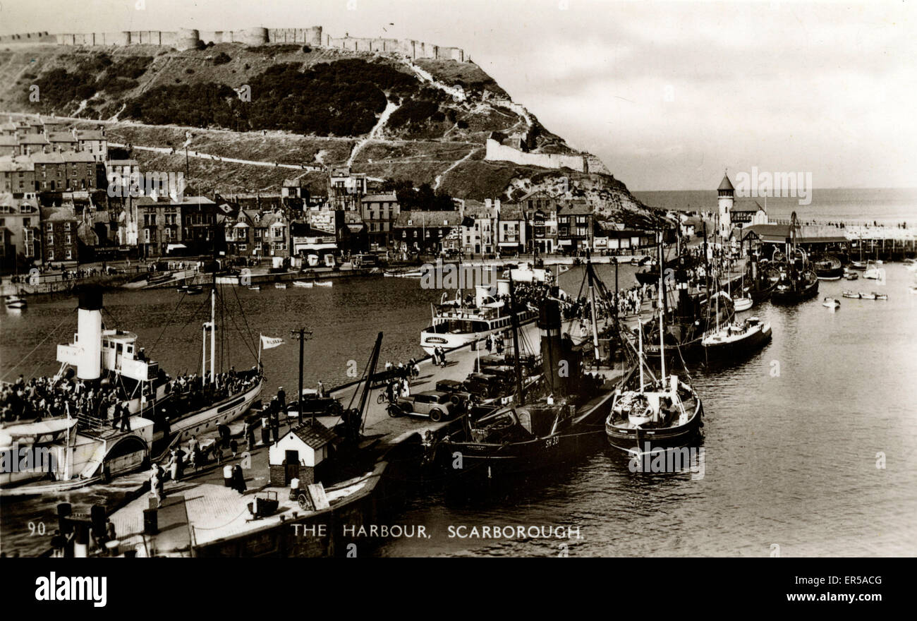 The Harbour, Scarborough, Yorkshire , England.  1930s - Stock Image
