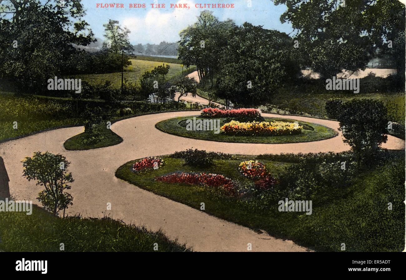 Flower Beds, The Park, Clitheroe, Lancashire, England.  1900s - Stock Image
