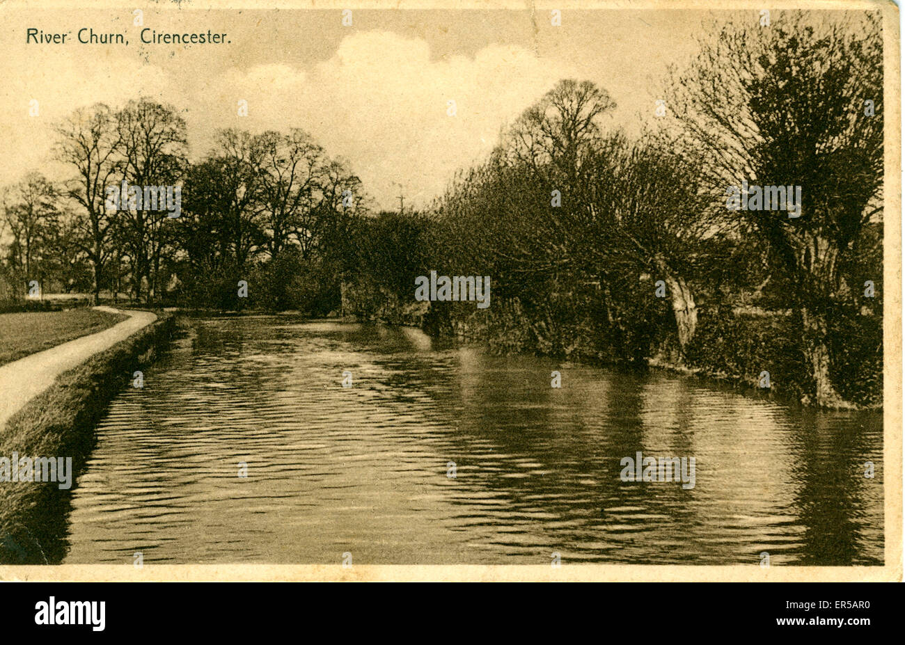 River Churn, Cirencester, Gloucestershire, England.  1910s Stock Photo