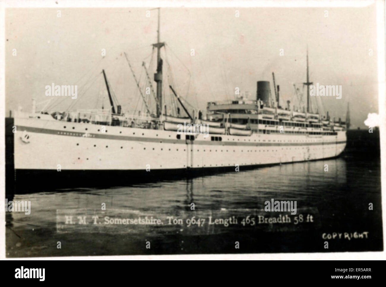 HMT (Hired Military Transport) Ship Somersetshire, .  C1920s - Stock Image