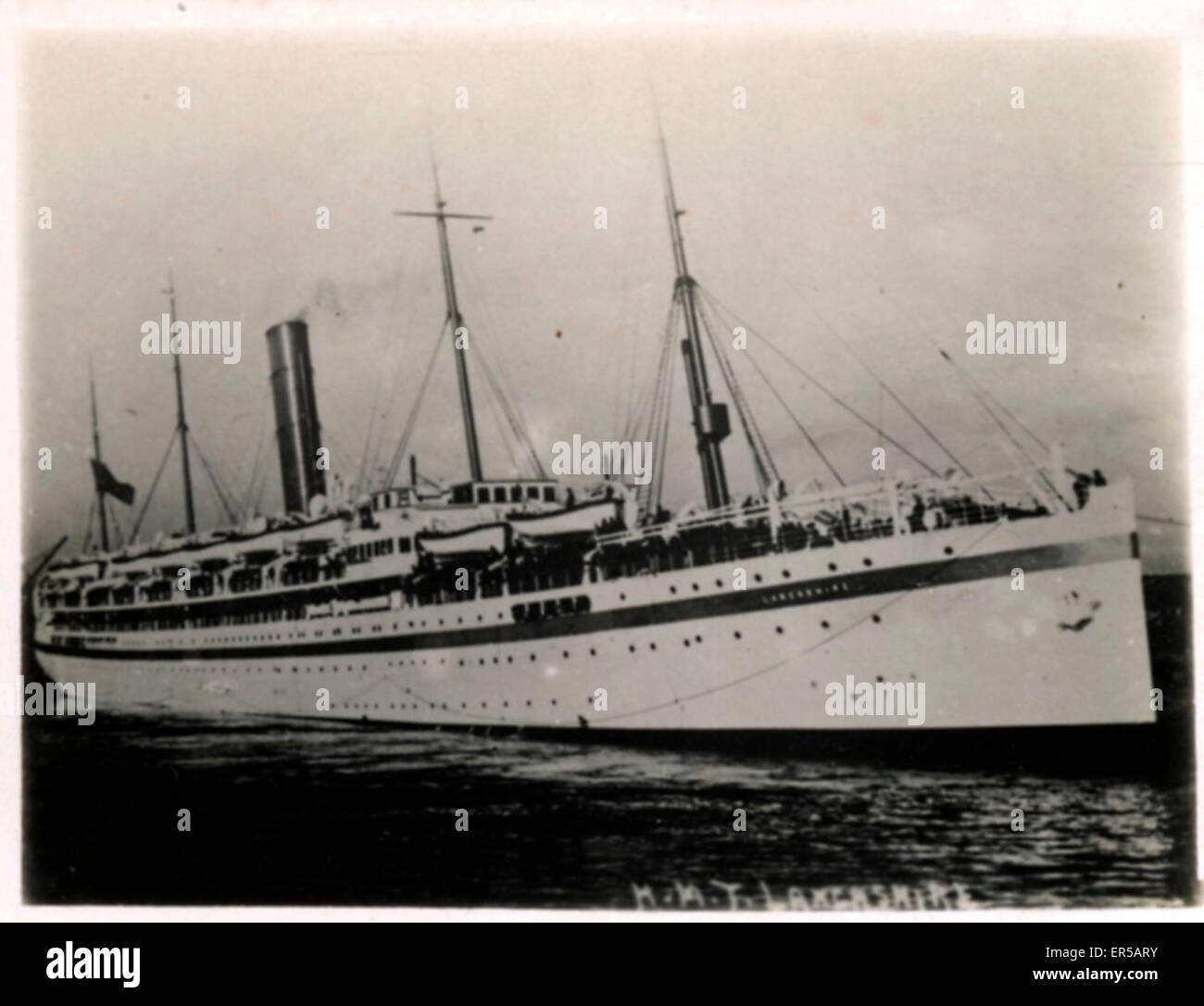 HMT (Hired Military Transport) Ship Lancashire, .  C1920s - Stock Image