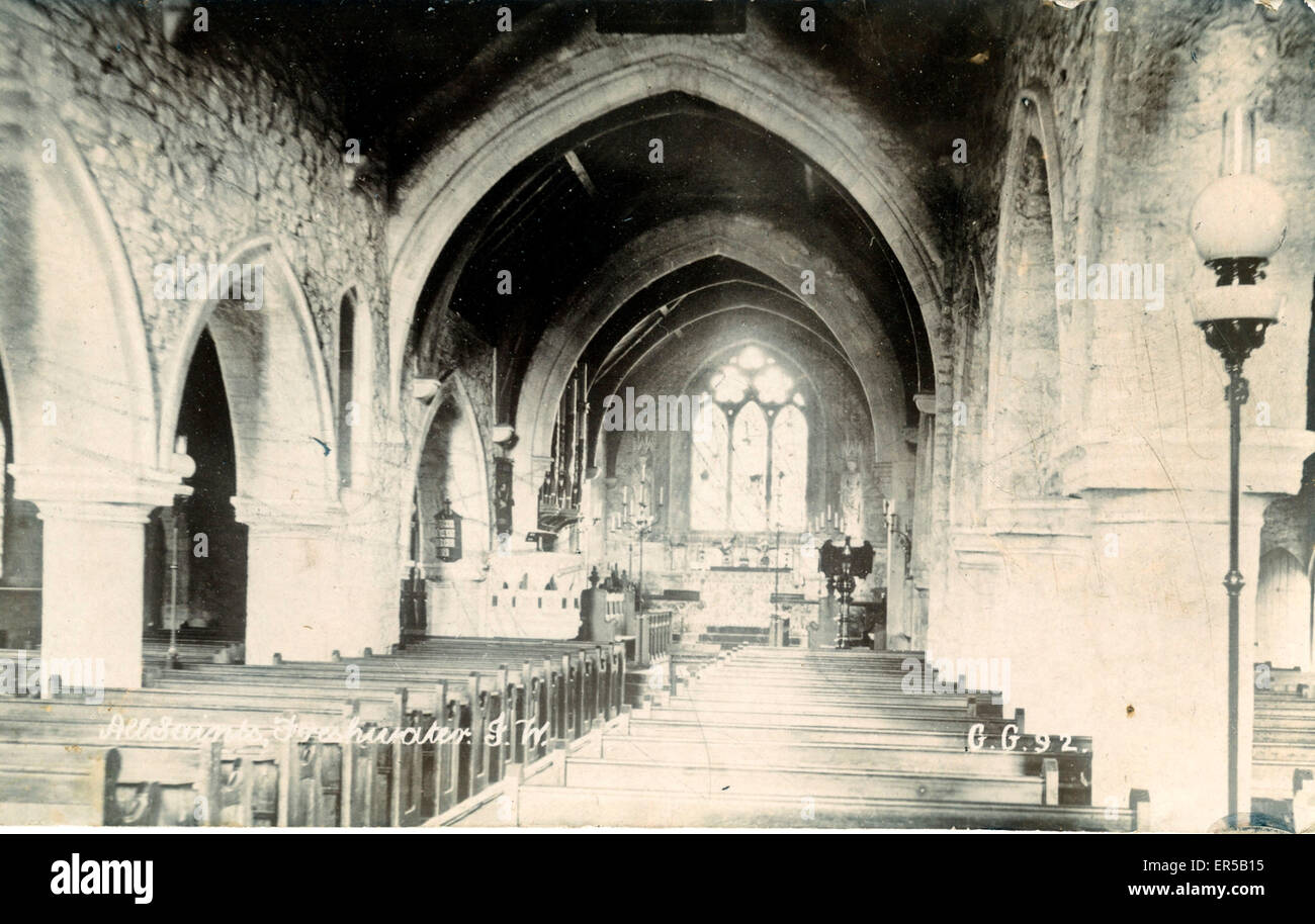 All Saints Church Interior, Freshwater, Isle of Wight, England.  1910s - Stock Image