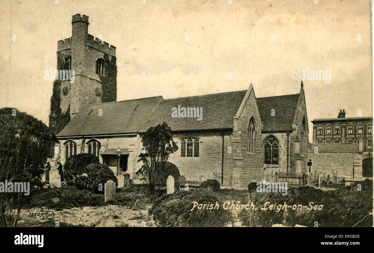 Parish Church, Leigh-on-Sea, Southend-on-Sea, Essex, England.  1910s Stock Photo