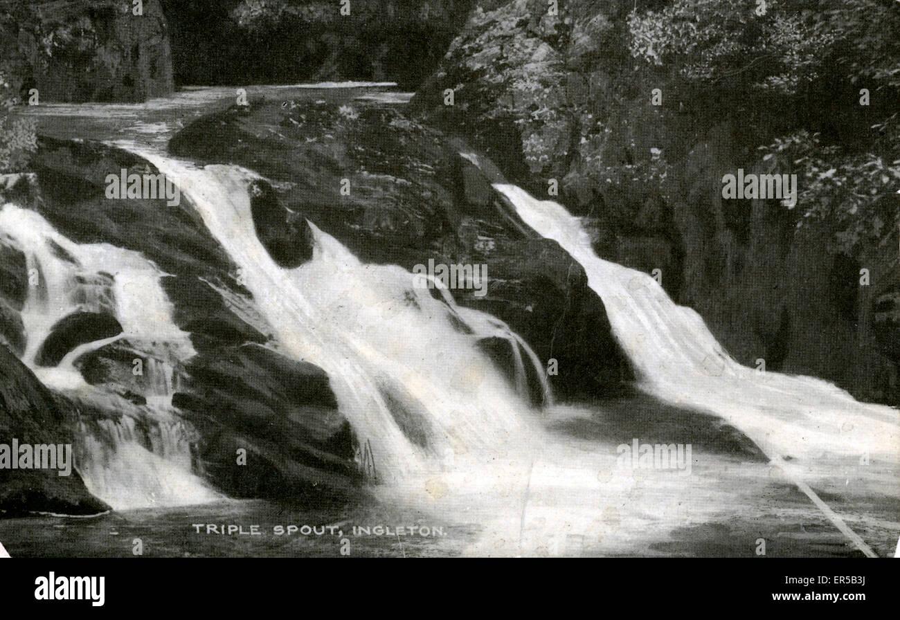 Triple Spout Falls, Ingleton, near Kirkby Lonsdale, Yorkshire, England.  1910s - Stock Image