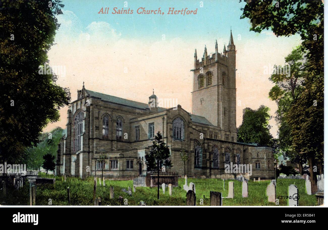 All Saints Church, Hertford, Hertfordshire, England.  1900s - Stock Image