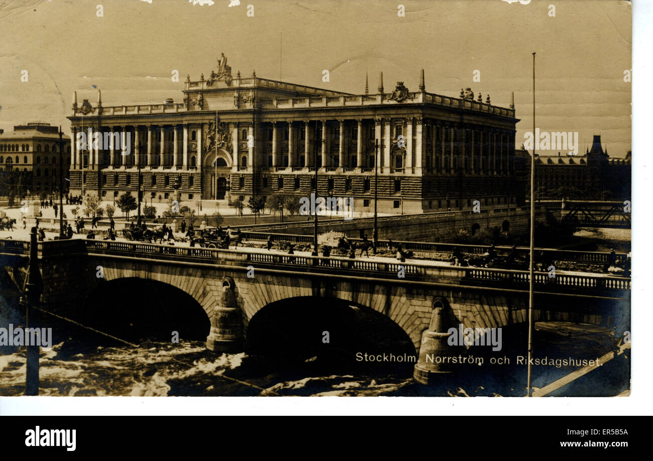 Norrstr�ch Riksdagshuset - The Parliament Building, Stockholm, Sweden.  1910s - Stock Image