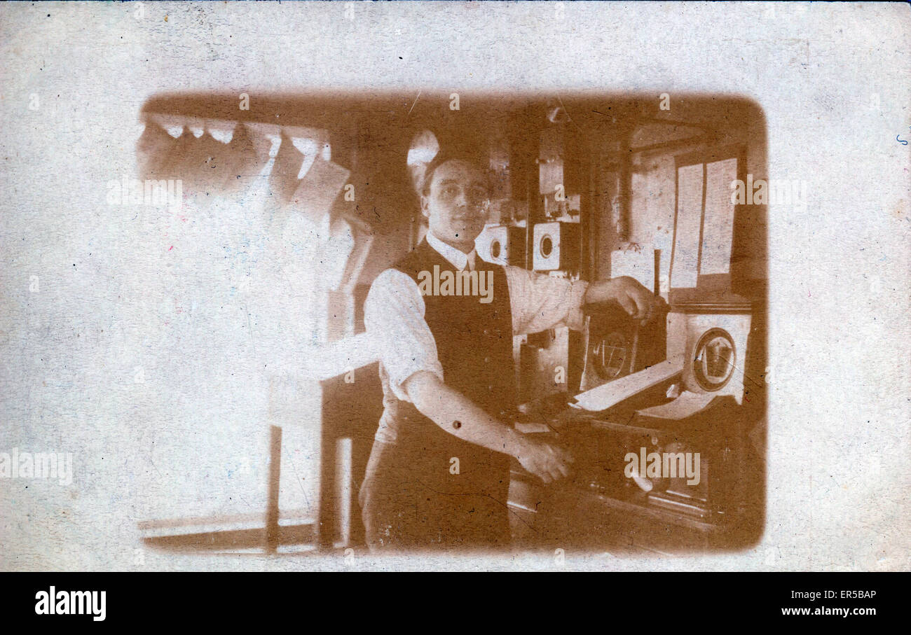 Interior of Railway Signal Box, Unknown Location, Britain.  1900s - Stock Image