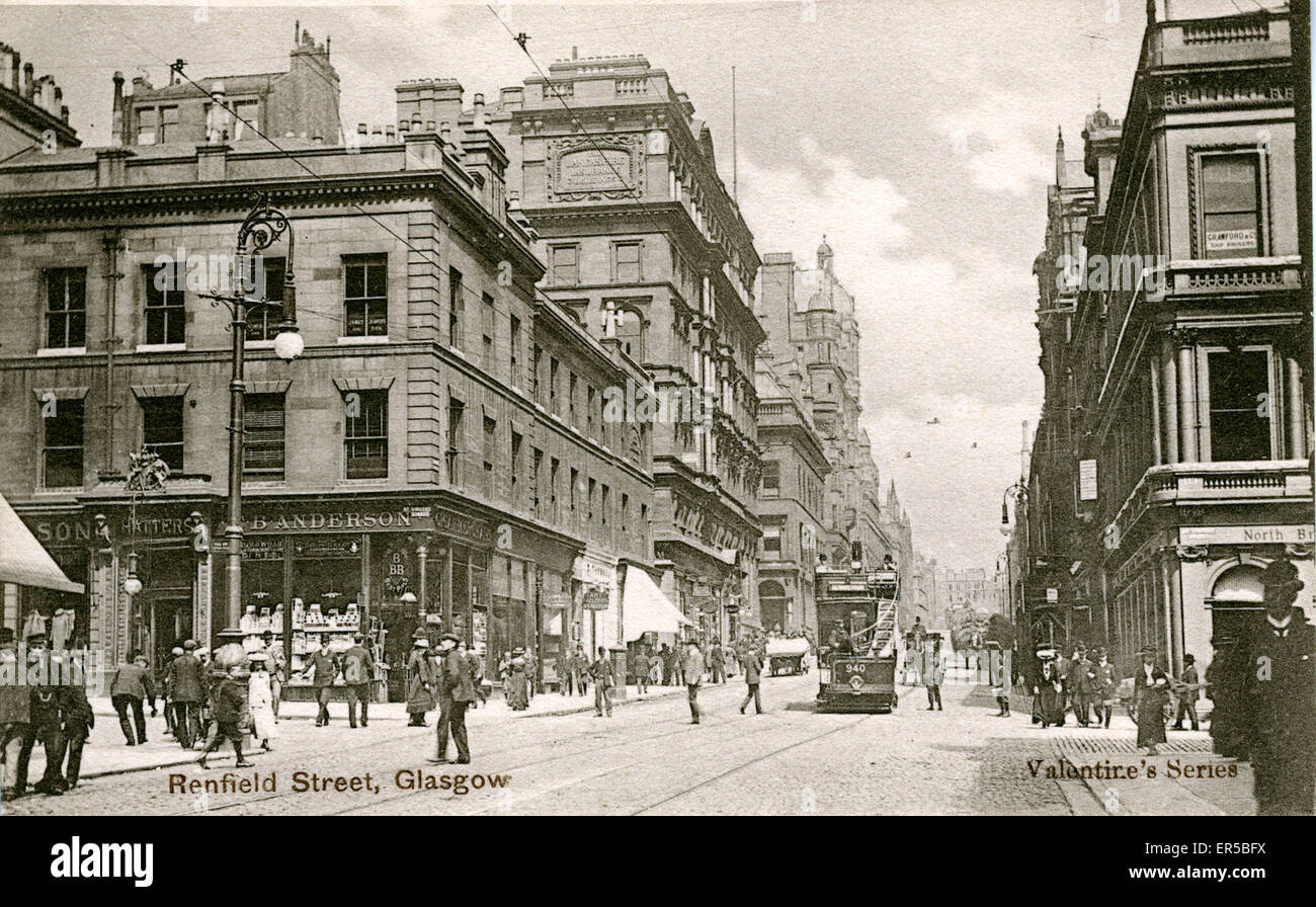 Renfield Street, Glasgow, Lanarkshire, Scotland. Showing the Lancashire Insurance Building  1900s - Stock Image