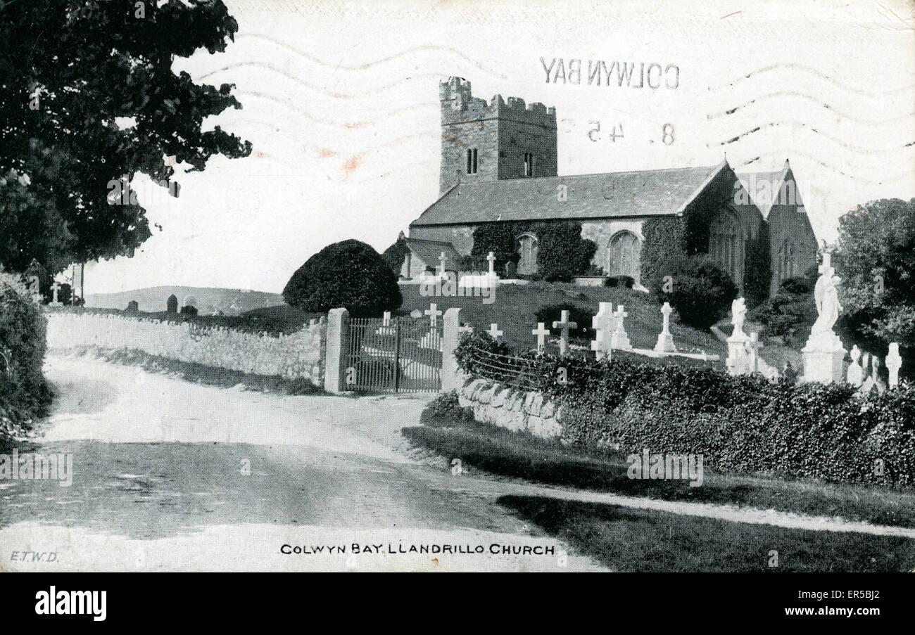 St. Trillo's Church, Llandrillo-yn-Rhos, Conwy, Denbighshire, Wales.  1920s - Stock Image