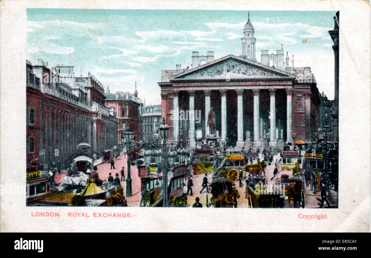 Cornhill, City of London, County of London, England. Showing the Royal Exchange  1900s - Stock Image