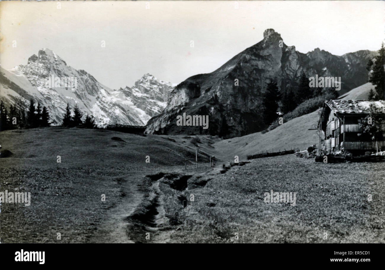Swiss Mountain Hut, Switzerland.  1930s - Stock Image