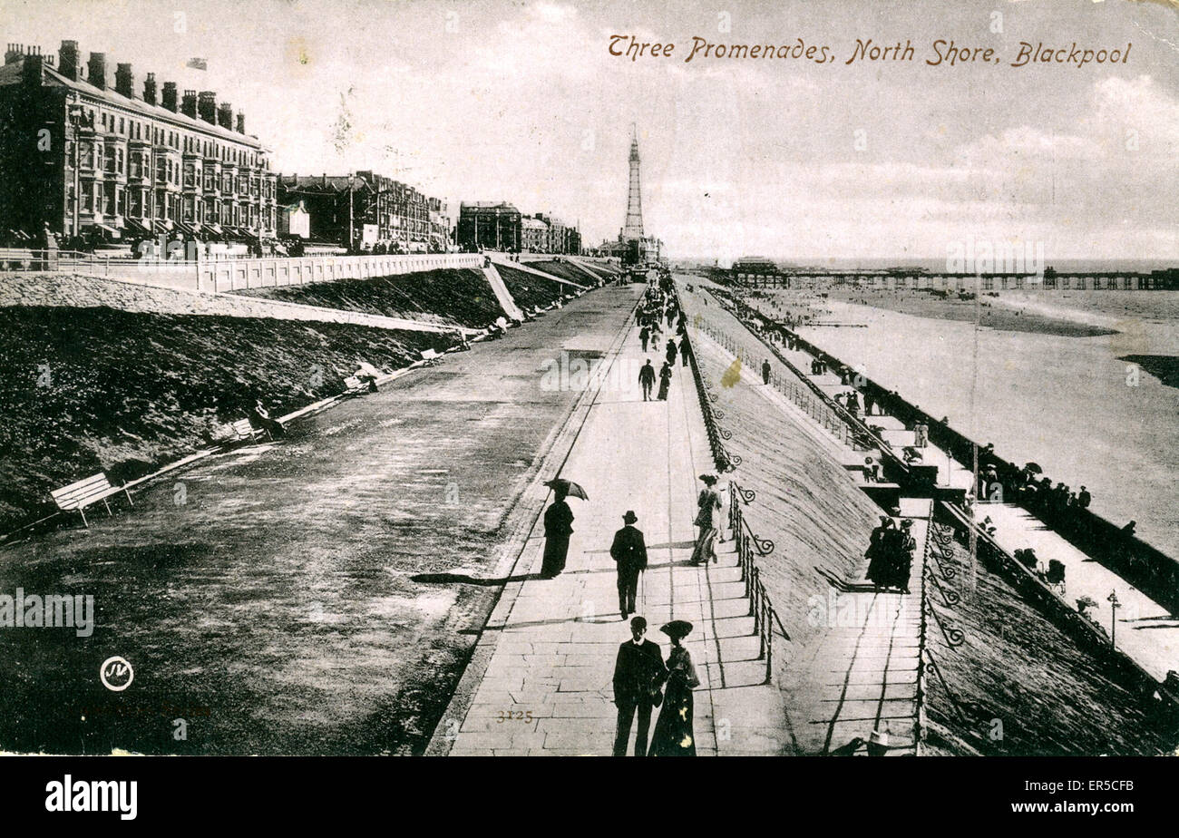 North Shore, Blackpool, Lancashire, England. Showing the three promenades  1900s - Stock Image