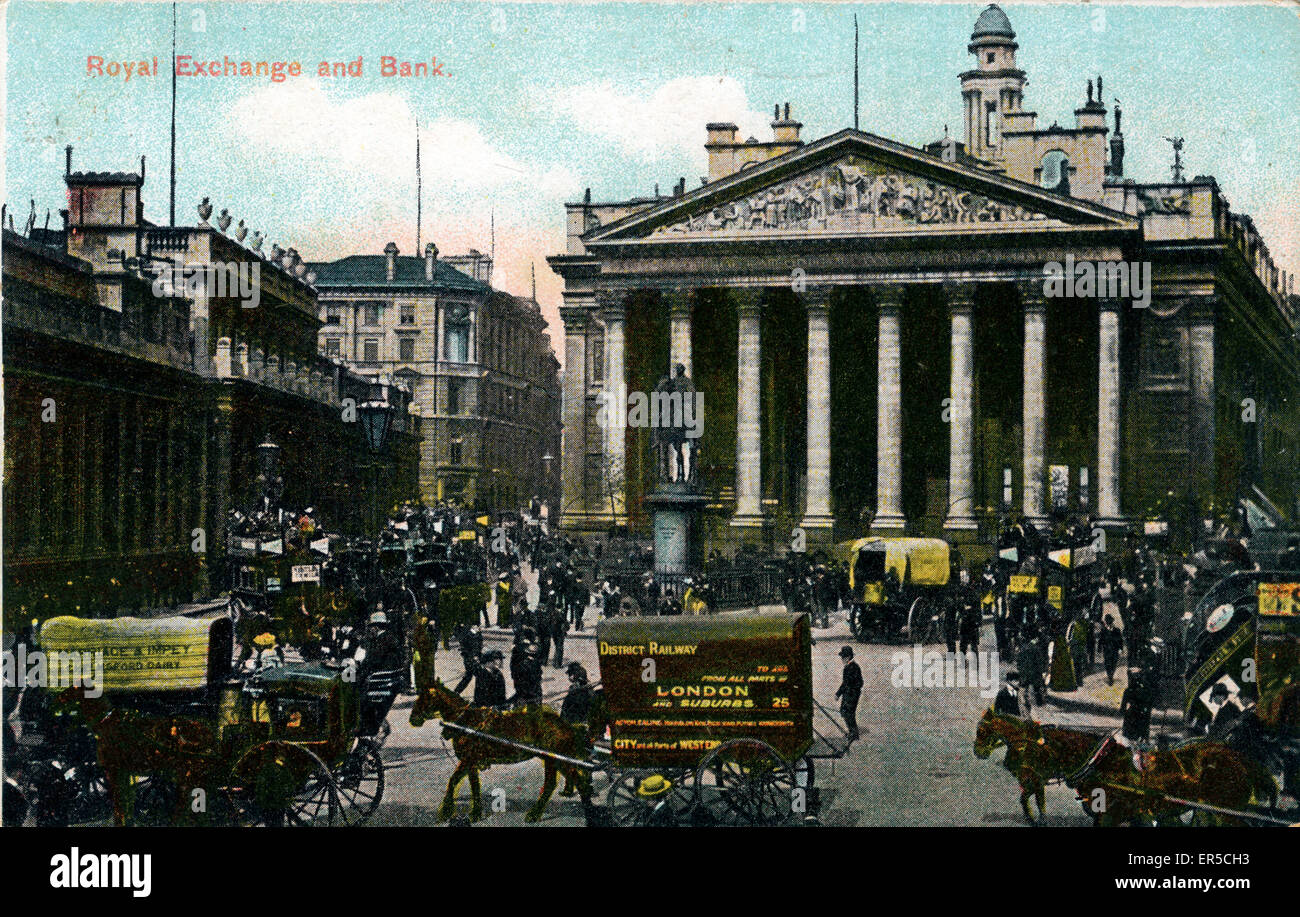 Cornhill, City of London, County of London, England. Showing the Royal Exchange & Bank  1900s - Stock Image
