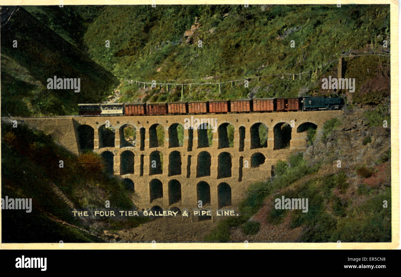 The Four Tier Gallery & Pipeline, Simla, near Phagli, Himachal Pradesh, India. Indian Railways  1930s - Stock Image