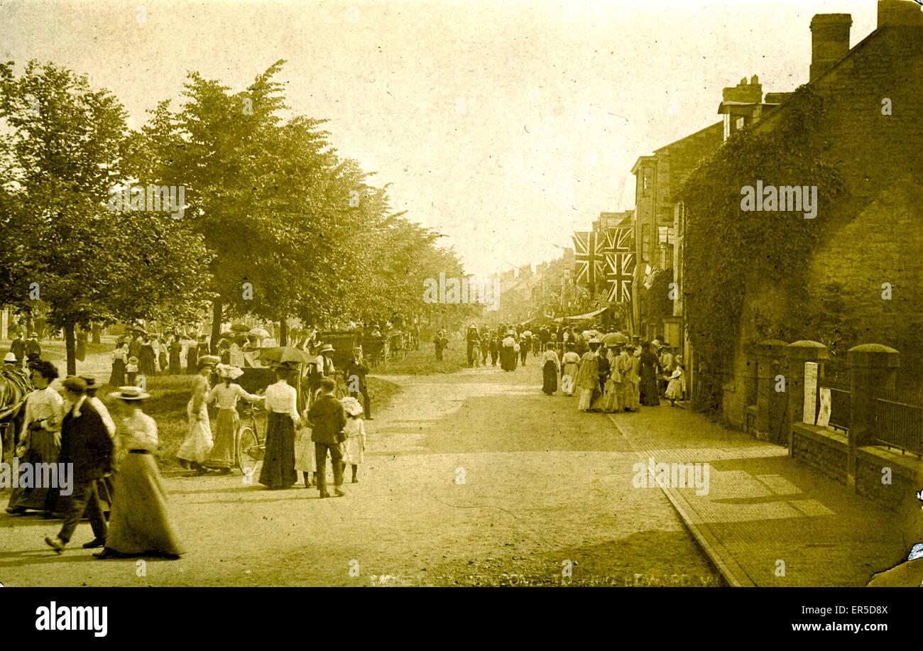 Street Festivities, Moreton in Marsh, near Chipping Norton, Gloucestershire, England.  1900s - Stock Image