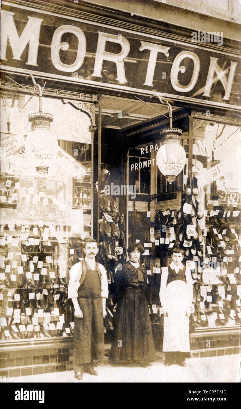 Shop-front/Premises - Morton - Shoe/Boot Maker, Aberystwyth, Cardiganshire, Wales.  1910s - Stock Image