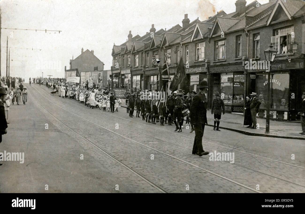 Bandon Hill Infants' School Procession & Boy Scout Parade - Stafford Road, Wallington, near Croydon, - Stock Image