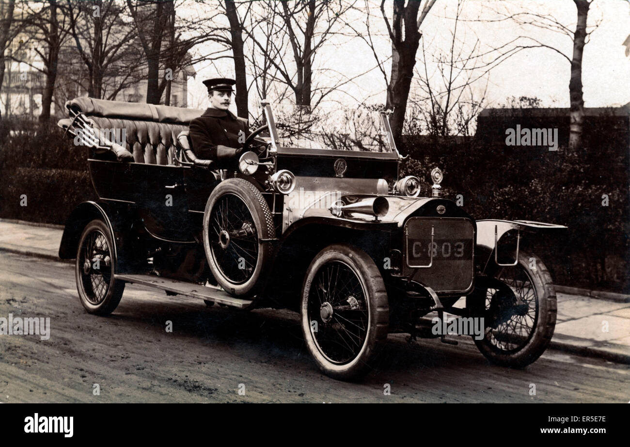 Wolseley Vintage Car, England. Driver Earnest Foster  1910s - Stock Image