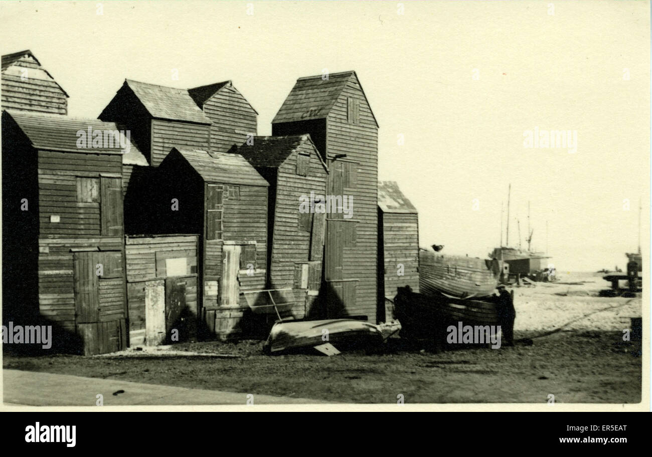 Smokehouses, Hastings, Sussex, England.  1930s - Stock Image