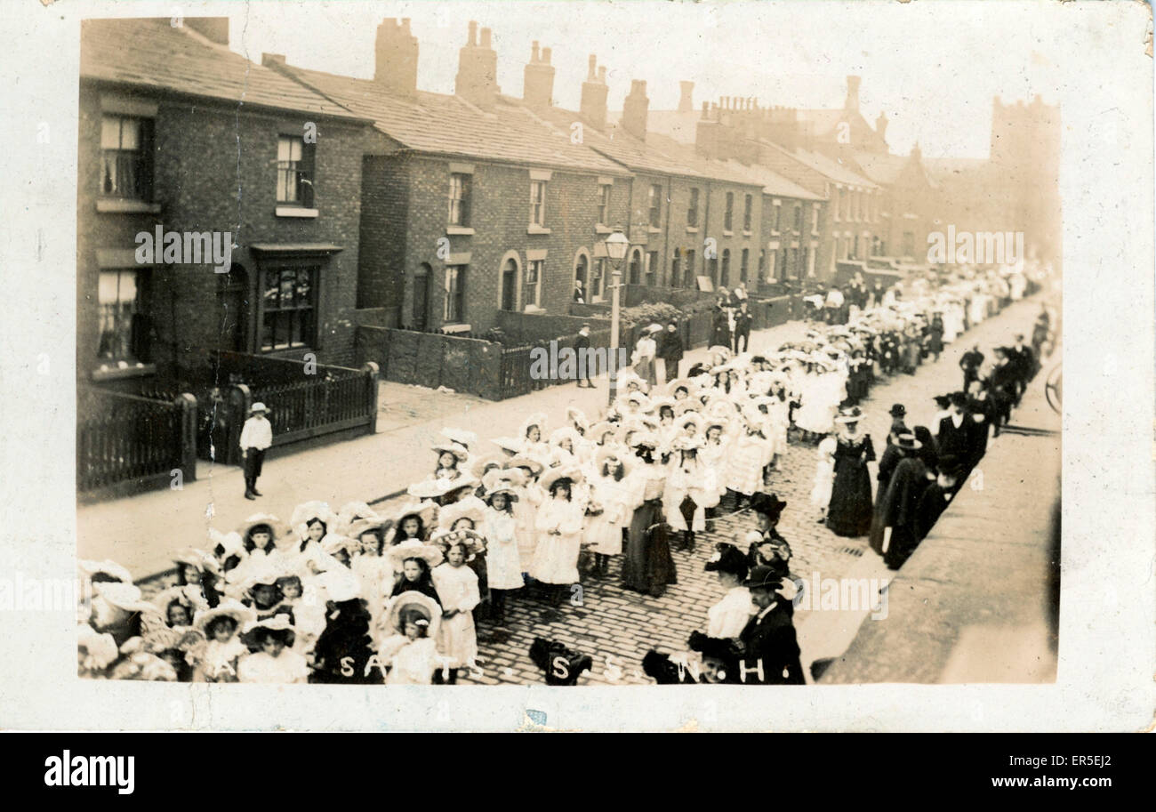 All Saint's Church - Sunday School Procession, Notting Hill, London, County of London, England.  1910s - Stock Image