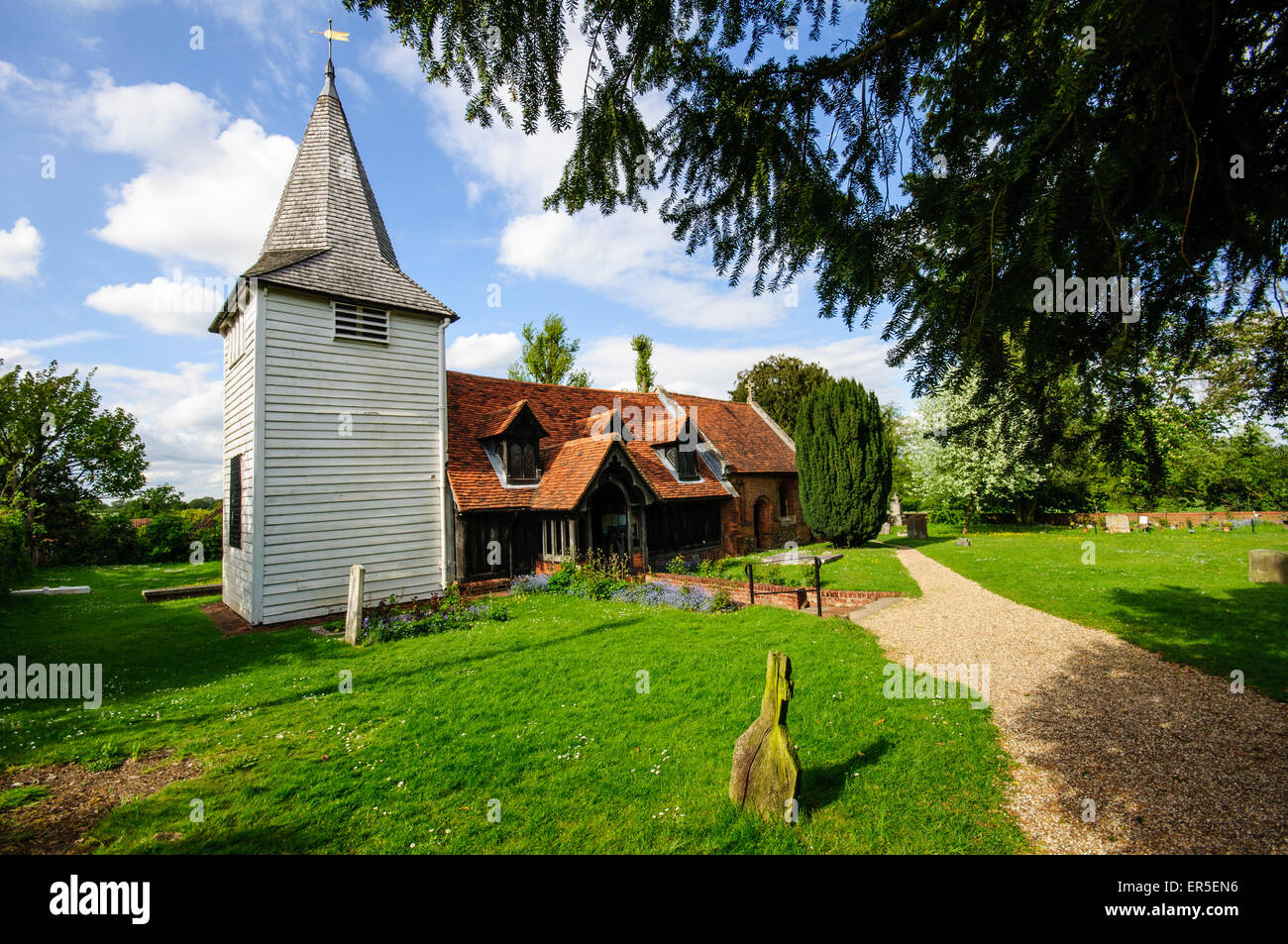 St. Andrew's Church, Greensted, Essex,England, UK - Stock Image