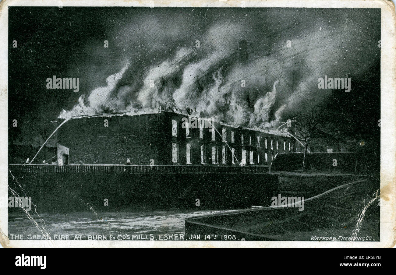 Burn & Co's Mills Disaster, Esher, near Weybridge, Surrey, England. Showing the Great Fire  1908 - Stock Image