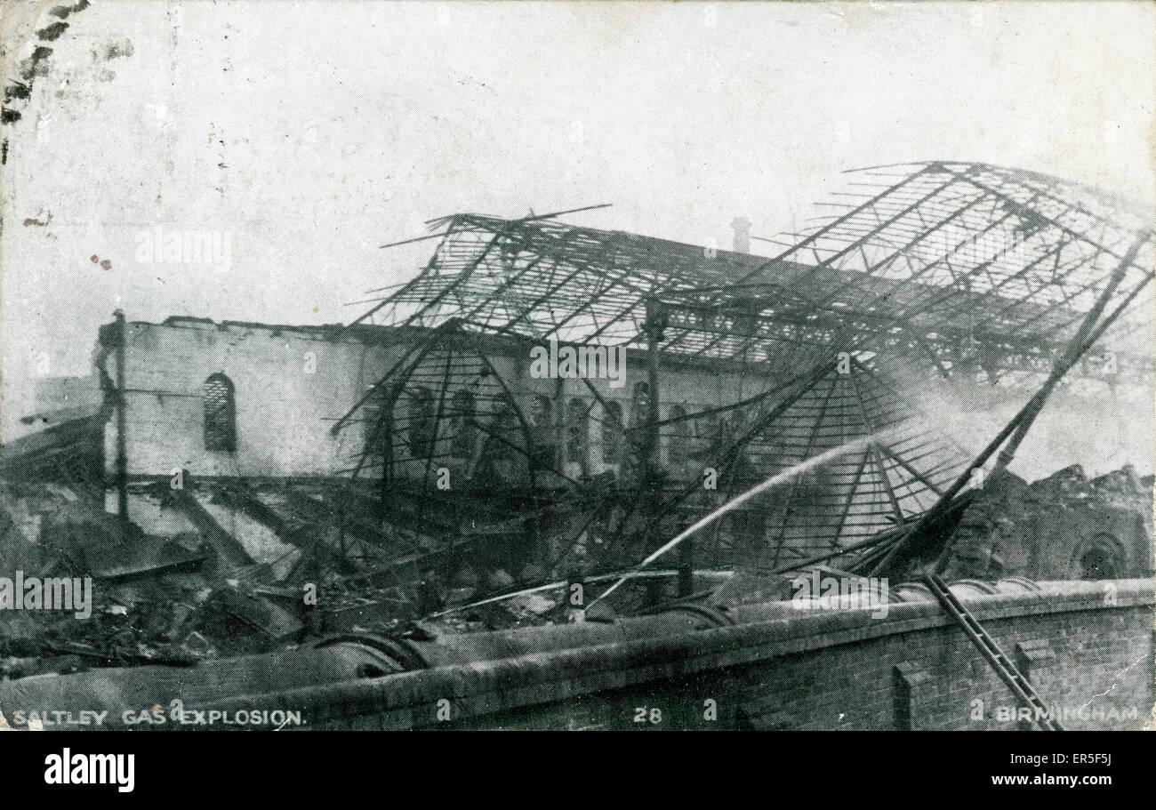 Gas Explosion/Disaster, Saltley, Birmingham, near Bordesley, Warwickshire, England.  1904 - Stock Image